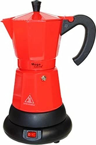 Mega Cocina Ceramic Cafetiere Red 4 Cup Coffee Espresso Maker